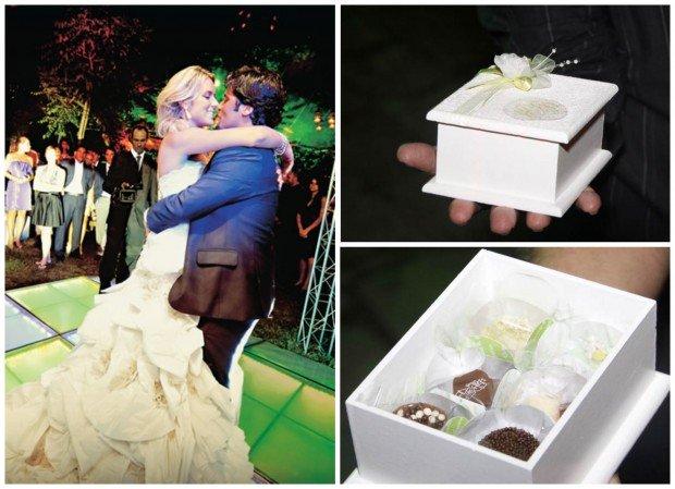 Chocolates embalados em belíssima caixinha fizeram a alegria dos convidados